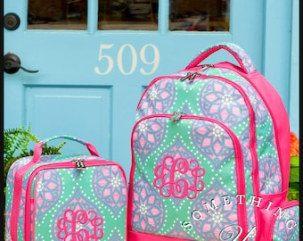 Marlee Monogrammed Backpack and Lunchbox, Matching Set, Personalized School Bags for Girls, Pink Mint and Purple Bookbags for kids