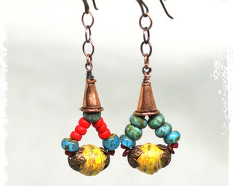 Mismatched dangle earrings, Colorful boho earrings, Gypsy earrings, Beaded triangle earrings, Small festival earrings,