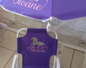 Toddler Kids Childrens Beach Chair and Umbrella Monogrammed Personalized Purple pink blue