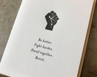 Resist, letterpress card