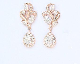 Bridal Earrings Modern Nature Inspired Diamante Teardrop Cocktail Earrings