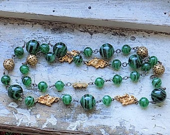 FREE SHIPPING Vintage Green Glass Beaded Necklace with Goldtone Accents