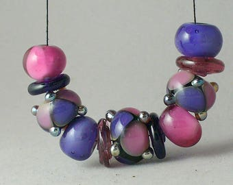Lampwork beads/sra lampwork/handmade lampwork/beads/pink/purple/jewelry supplies/