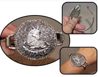 Vintage Silver tone metal Cuff Bracelet with Zodiac Taurus Bull, 60s, costume jewelry