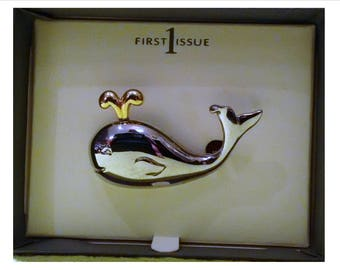 Vintage Silver & Gold Tone Spouting Whale Pin Brooch by Liz Claiborne, First Issue line