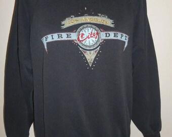 Closing Shop 40%off SALE Vintage 80s 90s black  Los Angeles City Fire Department   California  USA     sweatshirt sweat shirt    pullover