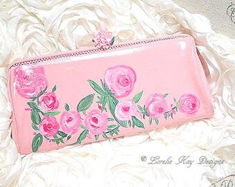 Shabby Pink Roses Clutch Handbag Upcycled Vintage Hand Painted Girly Purse Handpainted By Lorelie Kay Designs