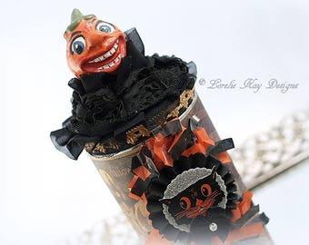 JOL Halloween Candy Container Antique Vintage Inspired Assemblage Art Doll Pumpkin Jack-O-Lantern Primitive Folk Art
