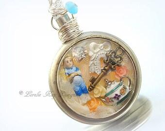 Charlotte in Wonderland Necklace Frozen Charlotte Miniature Doll  Diorama Pocket Watch Pendant