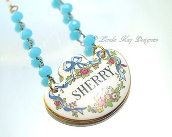 Sherry Name China Necklace Woman's Name Sherry Bottle Tag One-of-a-Kind Assemblage Pendant