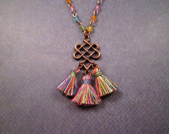 Cotton Tassel Necklace, Rainbow Pendant Necklace, Beaded Copper Chain Necklace, FREE Shipping U.S.