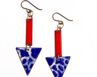 Cobalt Blue and Res Enamel Earrings