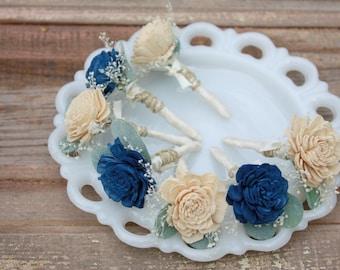 Navy boutonniere, Champagne Sola flower boutonniere, grooms boutonniere, sola wood flower bout, grooms flower, boutineer, ecoflower