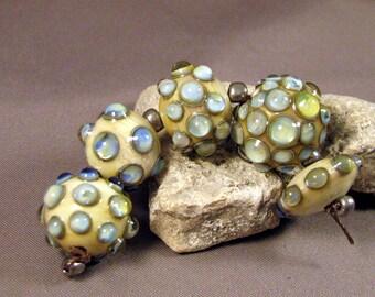 Handmade Lampwork Beads by Monaslampwork - Pale Blue Opals on Ivory - Lampwork Glass by Mona Sullivan Designs Opalescence Organic Bohemian