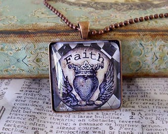 FAITH,  quote pendants, gift boxed and READY to SHIP, inspiational jewelry, hope, Valentine gifts,hearts,wings,crowns, black and white