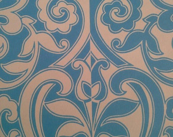 Two tone vintage wallpaper sky blue tulip heart leave flower by the meter