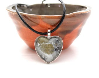 Heart Made with Paint Pendant in Grey with Gold Pop