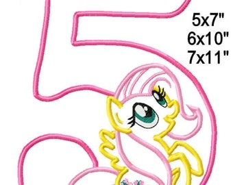 5 Birthday P0NY Machine Applique Design Embroidery Pattern 5x7 6x10 7x11 INSTANT DOWNLOAD