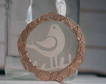 Bronze Metal Clay Pendant with Resined Paper, Unique Bronze Charm Pendant, Bird Pendant, Focal Bead, Divine Spark Designs, SRA