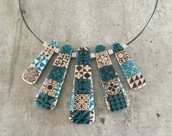 polymer clay necklace - cement tiles - new collection fall