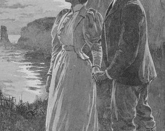 Antique Art Engraving, Illustration, My Love is Over the Sea, Original Piece, ca 1883 NT-777