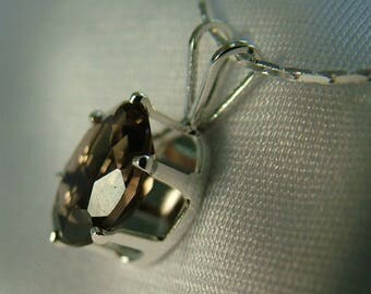 Smoky Quartz Pendant, Sterling Silver, 1.48 ct, 9x7mm Oval, Sterling Silver Chain, SQ-01