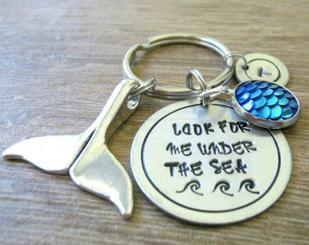 Personalized Mermaid Keychain, Look for me under the sea keychain, optional initial disc, mermaid scales, whale keychain, whale tail