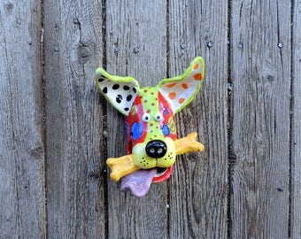 Dogs, Small,Dog Mask, Bone, Dog Sculpture, Ceramic Wall Hanging Handmade by Dottie Dracos, Wild Wild Things; ceramic dog mask, ID  616171