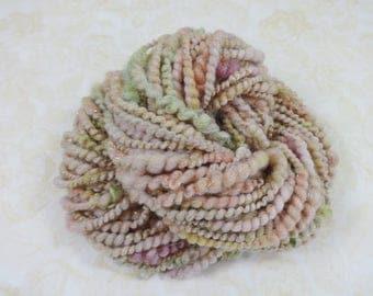 Handspun Art Yarn Bulky Coil Spun Sparkling Art Yarn 40 yards pink peach gold green