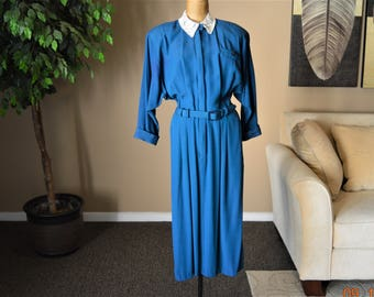 "Batwing Dress,size S / M,33"" - 34"" Chest,Waist 26 1/2"" Fitted,Deep Teal,Pencil Skirt,Lace Collar,New Wave Dress 80's ,All That Jazz,Made USA"