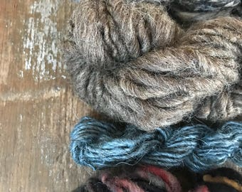 Four mini skeins, neutrals and blues, handspun miniskein texture pack yarn, 40 yards, art yarn set, weaving yarn set, textured art yarns