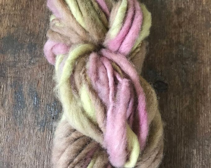 Tricolor Neopolitan naturally dyed, handspun local wool yarn, 36 yards single ply bulky weight, pink yellow and tan yarn