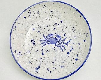 Pasta Bowl. Crab Pasta Bowl. Pasta.Dish.Bowl. Crab. Blue Crab. Handmade by Sara Hunter