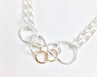 Nursing Necklace - Recycled Silver Infinity Symbol Necklace - Adjustable Necklace - Baby Friendly Necklace - Gift for New Mom