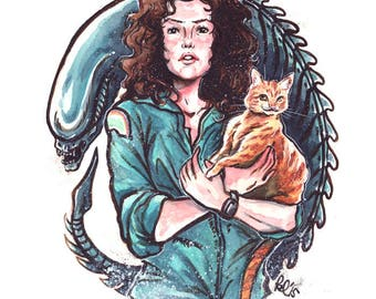 Come On, Cat - Ripley, Jones and Alien Print (11x14 on order)