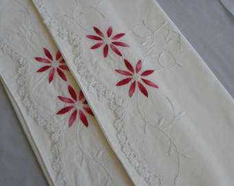 Vintage Pillowcases Hand Embroidered Flowers in Pinks Heavy Duty White Cotton Standard Size Pillowcases 1930s 1940s Era