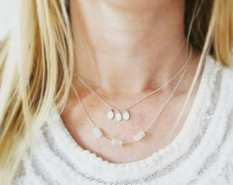 Minimalist moonstone stacks necklace. Sterling silver and moonstone layers necklace. Delicate Moonstone Necklace.