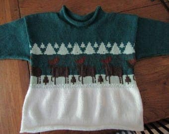 Maine made cotton pullover northwoods pine tree ombre rustic pearl sage hunter green child sweater size 2