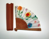 Handpainted Silk hand fan-Wedding hand fan- Abanico- Fan with flowers- Giveaways- Bridesmaids- Spanish hand fan-14x7.5inches (35 cmx19 cm)