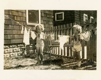 Vintage photo 1945 Little Girls Hanging up Laundry Playing House