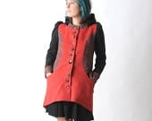 Womens red coat, Wool patchwork coat, Winter red and black wool coat with round hood, Hooded womens coats, Winter fashion, MALAM, size UK10