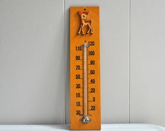 vintage wooden deer thermometer