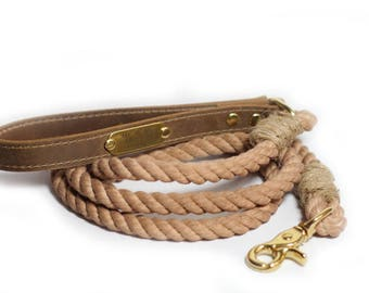 Rope Dog Leash - Cotton Rope leash with leather handle