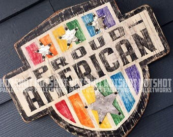 Proud American, PRIDE, USA, America, Americana,  Vintage-looking upcycled wood sign, hand made, hand painted