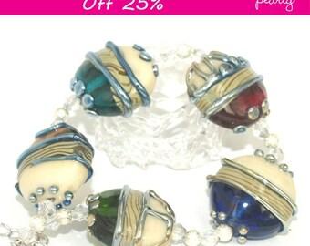 Pearly Metallic Stones Lampwork beads (5) SRA