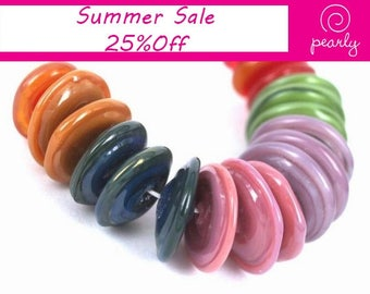 Pearly Disks Lampwork beads (18) SRA