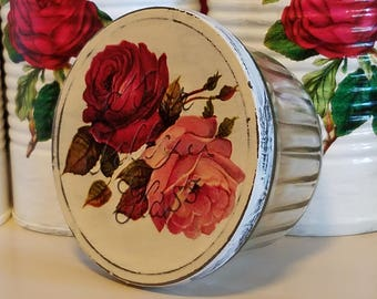 SALVAGED glass,upcycled recycled repurposed,altered art,angel base,roses,kerr jelly jar,shabby chic,antique white,jelly jar tin lid,cottage
