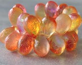 NEW Sunrise Orange Etched Czech Glass Bead 9x6mm Celestial Teardrop Mix : 25 pc Full Strand Etched Tear Drop