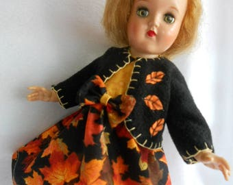 Doll P-90 TONI 1950's Blonde Hair Hard Plastic By Ideal 14 Inch With Autumn Dress and Coat