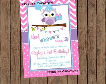 Owl Birthday Invitation - Owl Party Invitation - Owl Birthday Party - Owl Party Invitation -  Owl Baby Shower Invitation - Printable